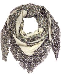 Tory Burch - Wool Wild Pansy Logo Square Scarf - Lyst