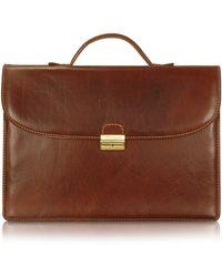 Chiarugi - Men's Handmade Brown Leather Single Gusset Briefcase - Lyst