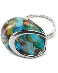 Antica Murrina - Byzantium - Light Green Murano Glass Ring W/silver Leaf - Lyst