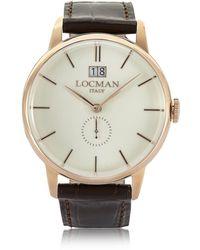 LOCMAN - 1960 Rose Gold Stainless Steel Men's Watch W/dark Brown Croco Embossed Leather Strap - Lyst