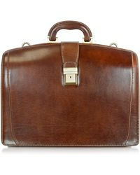 Chiarugi - Brown Leather Buckled Diplomatic Briefcase - Lyst