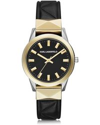 Karl Lagerfeld - Labelle Stud Klassic Black And Gold Women's Watch - Lyst