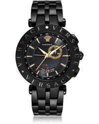 Versace Reloj para Hombres V-Race GMT de Acero Negro y PVG Dorado