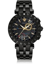 Versace - V-race Gmt Alarm Black And Pvg Gold Plated Men's Watch - Lyst