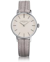 LOCMAN - 1960 Silver Stainless Steel Women's Watch W/light Purple Croco Embossed Leather Strap - Lyst