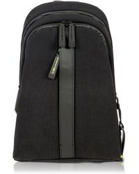 Bric's - Black Nylon And Leather Sling Backpack - Lyst