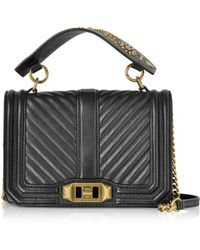 Rebecca Minkoff - Black Leather Small Love Crossbody Bag W/top Handle - Lyst