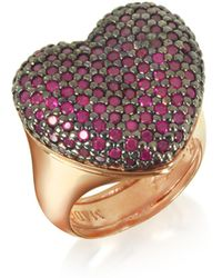 Azhar - Rose Sterling Silver I Love You Ring W/red Cubic Zirconia - Lyst