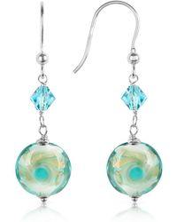 House of Murano - Vortice - Turquoise Swirling Murano Glass Bead Earrings - Lyst