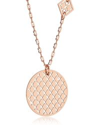 Rebecca - Melrose Rose Gold Over Bronze Necklace W/geometric Charms - Lyst