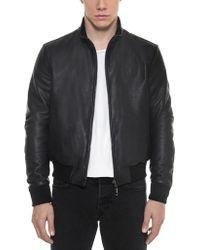 FORZIERI - Dark Blue Leather And Nylon Men's Reversible Jacket - Lyst