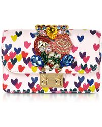Gedebe - Mini Cliky Pink Nappa Printed Hearts Clutch W/chain Strap - Lyst