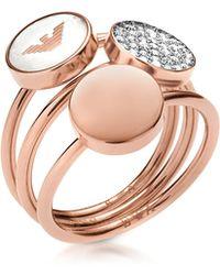 Emporio Armani - Signature Rose Goldtone Triple Ring - Lyst