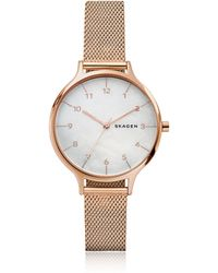 Skagen - Anita Mother Of Pearl Rose-tone Steel-mesh Watch - Lyst
