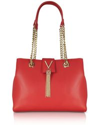 Valentino By Mario Valentino - Lizard Embossed Eco Leather Divina Shoulder Bag W/chain Straps - Lyst