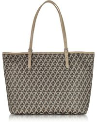 Lancaster Paris - Ikon Brown & Nude Coated Canvas And Leather Tote Bag - Lyst