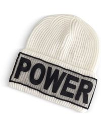 93bf42c3ab1 Versace - Power Manifesto White Wool Knit Hat - Lyst