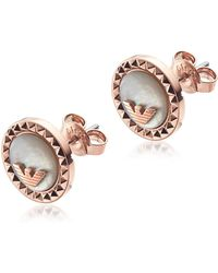 Emporio Armani - Signature Rose Gold Pvd Stainless Steel Earrings - Lyst