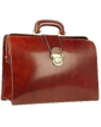 FORZIERI - Cognac Italian Leather Buckled Medium Doctor Bag - Lyst