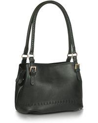 Fontanelli - Black Stiched Soft Leather Handbag - Lyst