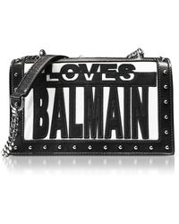 Balmain | Loves Black/white Patchwork Smooth Leather Flap Bag | Lyst