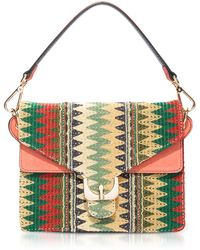 Coccinelle - Ambrine Etno Multicolor Canvas And Coral Leather Crossbody Bag - Lyst