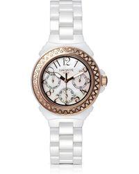 Lancaster - Ceramic Diamonds White Multifunction Quartz Movement Watch - Lyst