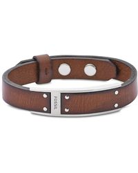 Fossil - Brown Leather Men's Bracelet - Lyst