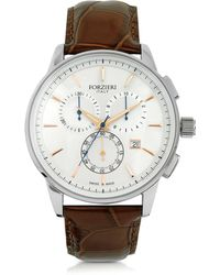 FORZIERI - Viareggio Silver Tone Stainless Steel Case And Brown Embossed Leather Men's Chrono Watch - Lyst