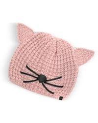 Karl Lagerfeld - Pink Choupette Knit Hat - Lyst