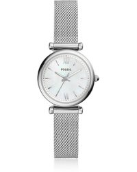 Fossil - Carlie Mini Three Hand Mesh Women's Watch - Lyst