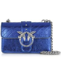 Pinko - Mini Love Metallic Quilted Leather Shoulder Bag - Lyst