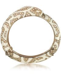 Roberto Cavalli - Golden Brass And Ivory Enamel Snake Bangle W/crystals - Lyst