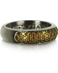 Azhar - Yellow Cubic Zirconia And Sterling Silver Ring - Lyst