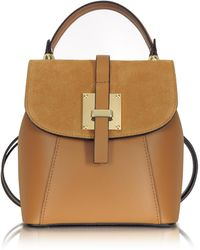 Le Parmentier - Palazia Caramel Suede And Leather Small Backpack - Lyst