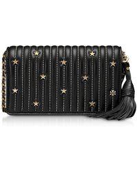 67ffc3e1e6be02 Lyst - Black Star Studs Flat Wallet Crossbody Bag Tory Burch en ...