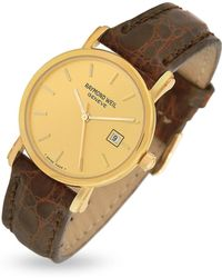 Raymond Weil - Brown Croco-stamped Leather Strap 18k Gold Date Dress Watch - Lyst
