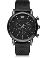 Emporio Armani - Black Stainless Steel & Leather Men's Watch - Lyst