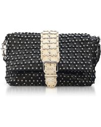 RED Valentino - Black/ivory Studded Leather Flap Top Shoulder Bag - Lyst