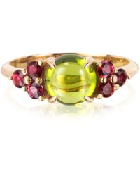 Mia & Beverly - Red Sapphires And Peridot 18k Rose Gold Ring - Lyst