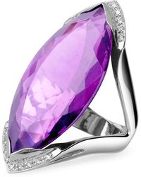 Forzieri | Amethyst And Diamond White Gold Fashion Ring | Lyst