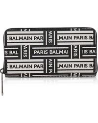 Balmain - Black And White Signature Print Leather Continental Wallet - Lyst