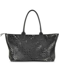 FORZIERI - Large Black Woven Leather Tote - Lyst