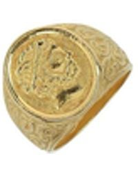 Torrini - Socrates - Engraved Oval Yellow Gold Men's Ring - Lyst