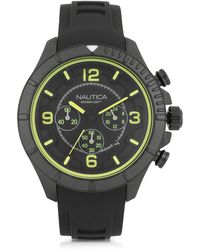 Nautica - Nst 101 Black Stainless Steel Case And Leather Strap Men's Chronograph Watch - Lyst