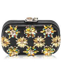 Corto Moltedo - Susan C Star Black Nappa Leather And Gold Flowers Crystals Pochette W/chain Strap - Lyst