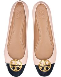 Tory Burch - Seashell Pink Nappa & Perfect Navy Patent Leather Chelsea Cap-toe Ballet Flats - Lyst