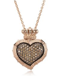 Azhar - Rose Sterling Silver And Cubic Zirconia Sacred Heart Pendant Necklace - Lyst