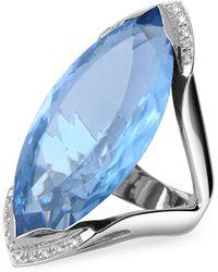 Forzieri | Blue Topaz And Diamond White Gold Fashion Ring | Lyst