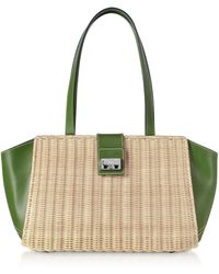 Rodo - Whitewashed Wicker And Leather Trapeze Tote Bag - Lyst
